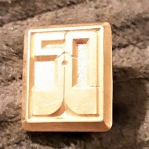 Gold plated 50 year pin fasten backing